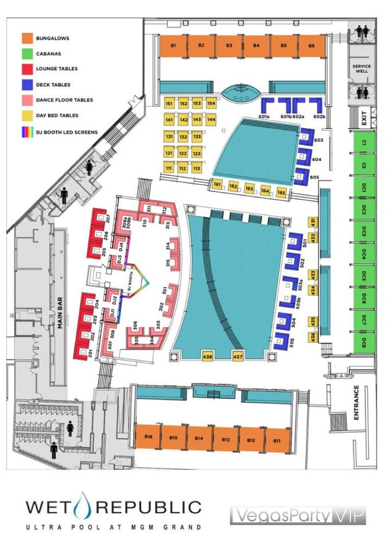 Table Map Wet Republic Dayclub Las Vegas